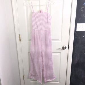 Pink and white Stipe Jumpsuit with Tie Back